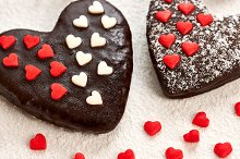 Love, Valentines Day. Hearts chocolate cakes