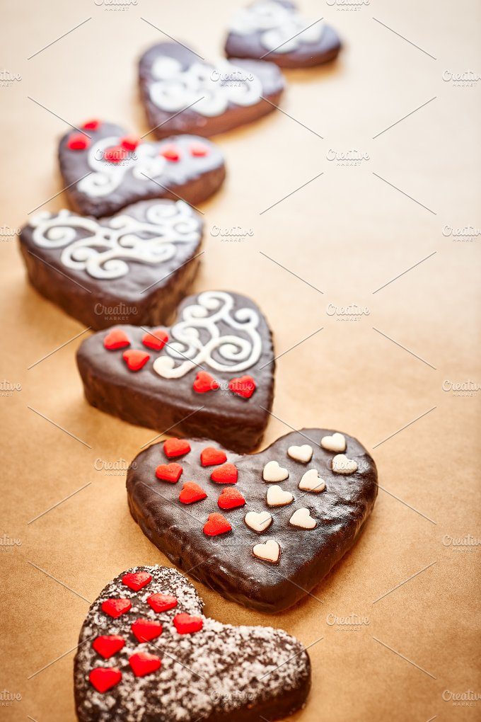 Love, Valentines Day. Hearts chocolate cakes - Arts & Entertainment