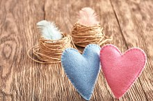 Love, Valentines Day. Hearts couple, wood. Vintage