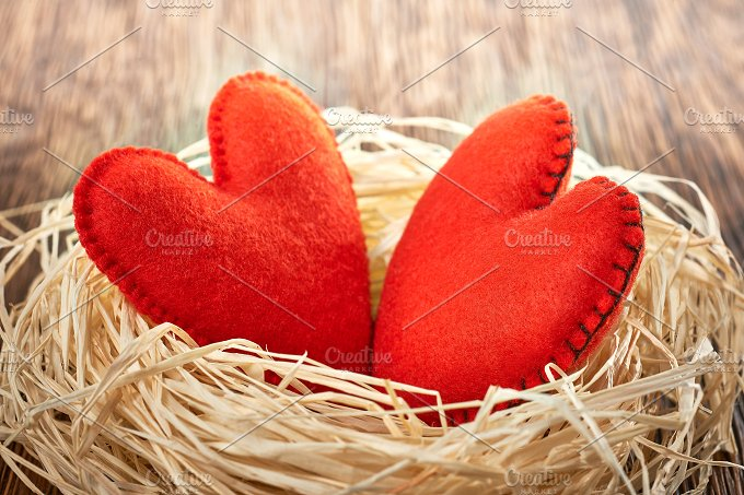 Love, Valentines Day. Hearts on wood. Couple nest - Arts & Entertainment