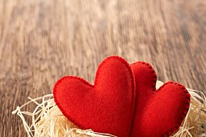 Love, Valentines Day. Hearts on wood. Couple nest
