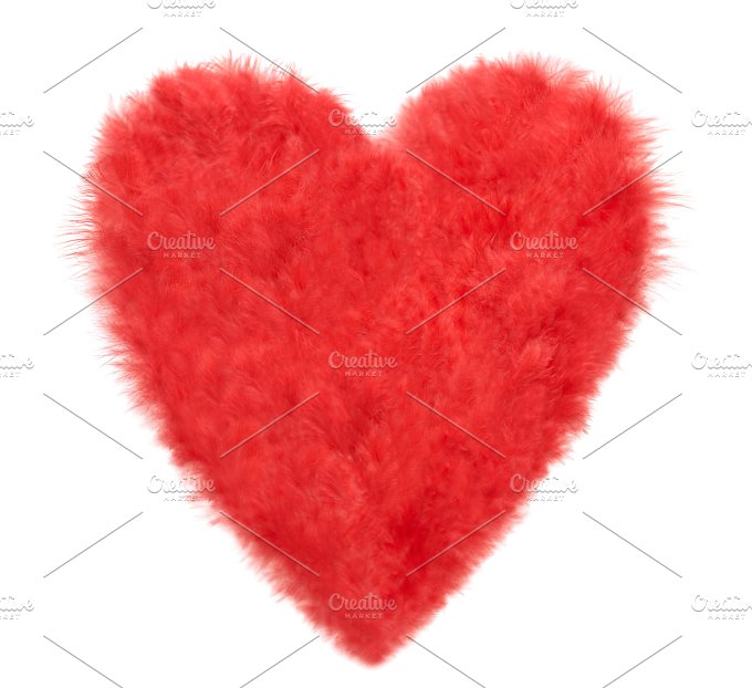 Love, Valentines Day. Heart made of red feathers - Arts & Entertainment