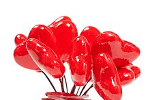 Love hearts bouquet, Valentines Day. Greeting card