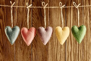 Love hearts, Valentines Day. Handmade,wood.Vintage