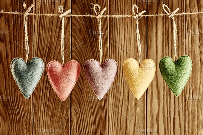 Love hearts, Valentines Day. Handmade,wood.Vintage - Arts & Entertainment