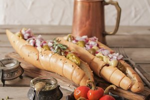Hot dog with sausage and onions with