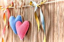 Love hearts, Valentines Day. Handmade,wood.Vintage
