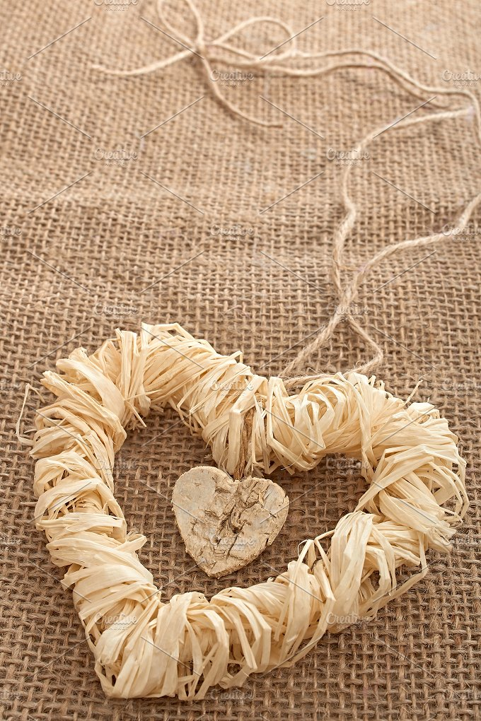 Love hearts, Valentines Day. Heart made of straw - Arts & Entertainment