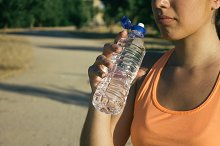 Woman drinking a water bottle