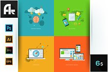 Set Of 4 Concepts For Web Design