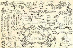 Hand drawn decoration elements.