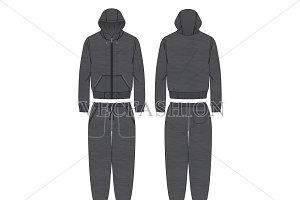 Charcoal Gray Running Tracksuit Set