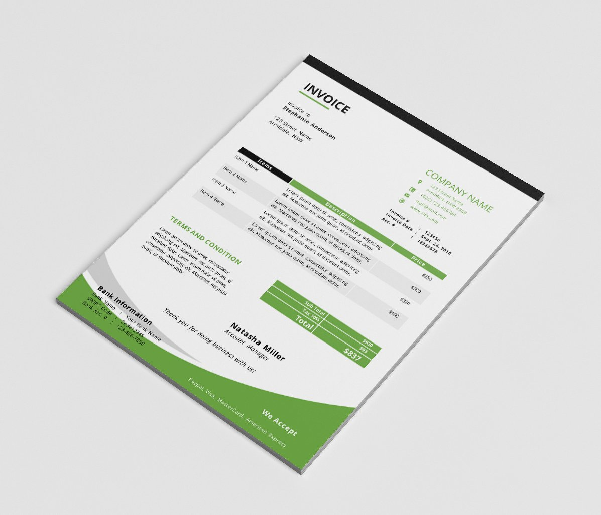 MS Word Corporate Invoice Template Stationery Templates - Corporate invoice template