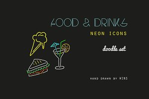 Food & Drink. Neon icons + Six cards