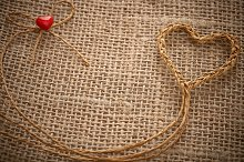 Love hearts, Valentines Day. Heart handmade, twine