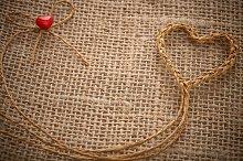 Love hearts, Valentines Day. Heart handmade, twine