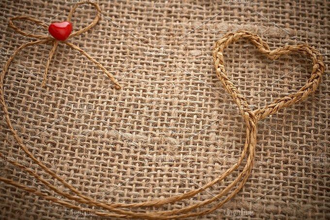 Love hearts, Valentines Day. Heart handmade, twine - Arts & Entertainment