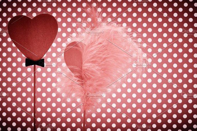 Love hearts, Valentines Day. Couple, dots. Vintage - Arts & Entertainment