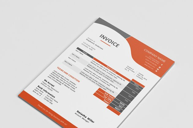 ms word corporate invoice template stationery templates creative