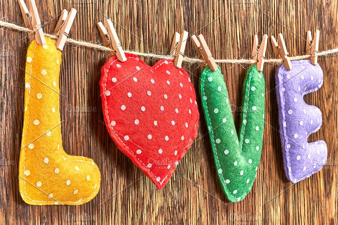 Love, Valentines Day. Word polka dots, heart wood - Arts & Entertainment