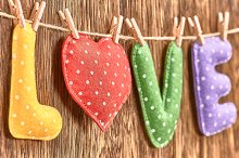 Love, Valentines Day. Word polka dots, heart wood