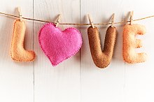 Love, Valentines Day. Word, heart on wood.Vintage