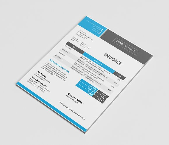 Modern Docx Invoice Template Stationery Templates Creative Market - Invoice template docx