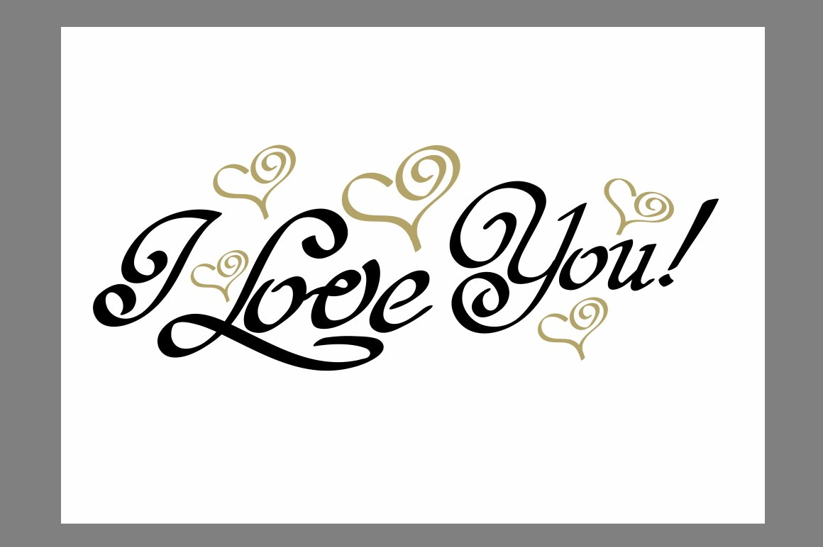 I love you lettering design script fonts creative market for Love in design