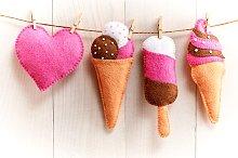 Love, Valentines Day. Heart, couple ice cream,wood