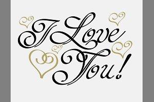 I Love You, Lettering Design Vector