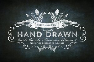 Hand Drawn Curls & Banners Vol. 4
