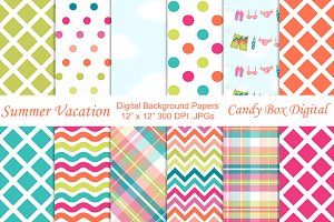 Summer Vacation Digital Papers