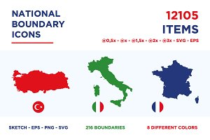 National Boundary Icons - All World