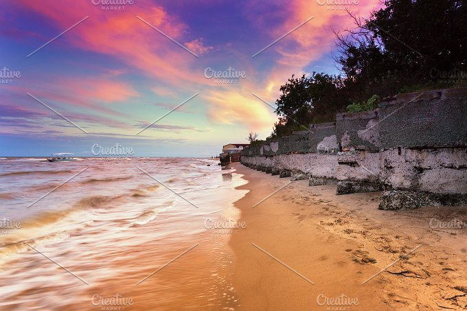 Summer landscape. Sunset in the sea - Nature