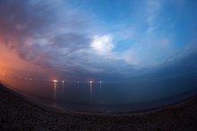 Sea landscape at night