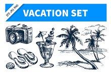 Vacation Hand Drawn Sketch Set