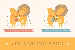 Baby showers with lions in vector