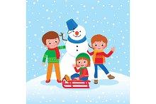 Children play outdoor in the winter