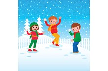 Group of children playing snowballs