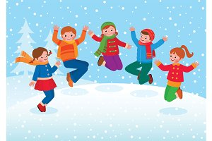 Children jumping and playing winter