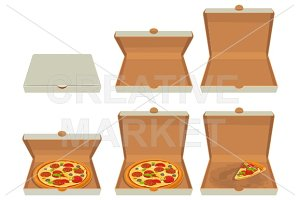 pizza in closed, open packaging box