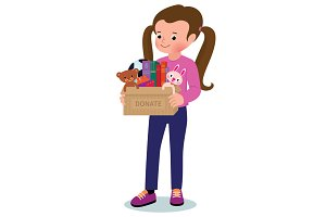Little girl with a box of donations
