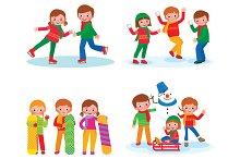 Set of children winter activities