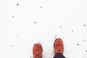 Leather boots in the snow