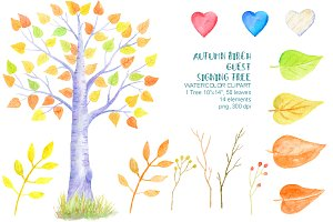 Autumn Birch Guest Signing Tree