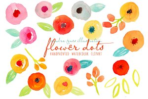 Watercolor Abstract Flowers Dots