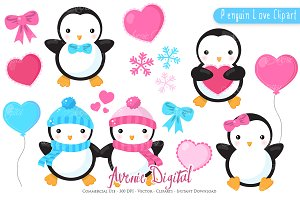 Penguin Valentines day ClipArt + eps