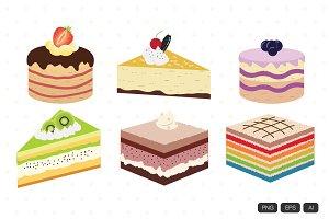 12 Delicious Cake Vector