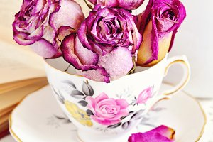 Vintage tea cup with roses