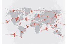 Red airplanes on world map